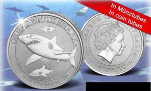 Der Weiße Hai - the Great white Shark von der Perth Mint im Halb-Unzen-Format.