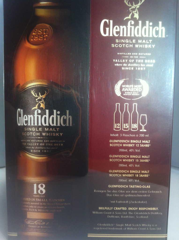 Glenfiddich Single Malt Whisky - gibt es beim Whisky Store drei Jahrgänge in einer Box zum probieren.